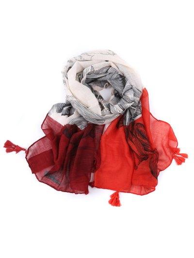 Voile Eagle Print Color Block Tassel Scarf - RED  Mobile