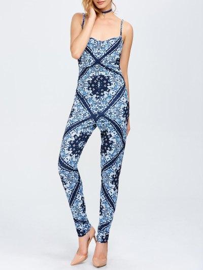 Paisley Print Cami Jumpsuit - BLUE L Mobile
