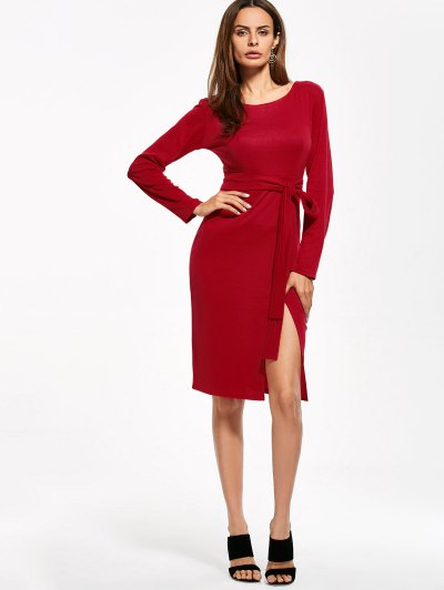 Round Neck Furcal Belted Bodycon Dress - RED L Mobile