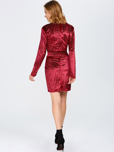 Plunge Neck Hot Fix Rhinestone Surplice Dress - RED L Mobile