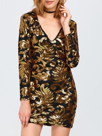 V Neck Sequins Bodycon Mini Dress - GOLDEN M Mobile