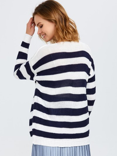 Round Neck Striped Tunic Sweater - WHITE AND BLACK ONE SIZE Mobile