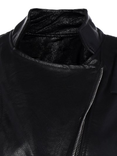 Inclined Zipper PU Leather Biker Jacket - BLACK L Mobile