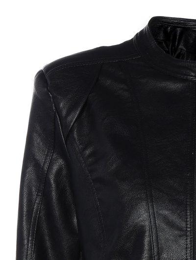 Punk PU Leather Biker Jacket - BLACK L Mobile