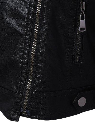 Zipper Pocket PU Leather Biker Jacket - BLACK XL Mobile