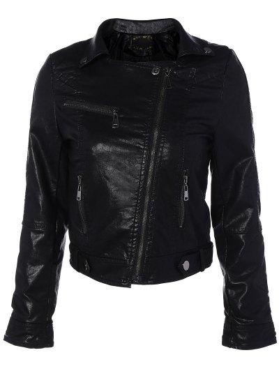 Zipper Pocket PU Leather Biker Jacket - BLACK L Mobile