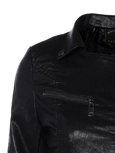 Zipper Pocket PU Leather Biker Jacket - BLACK M Mobile