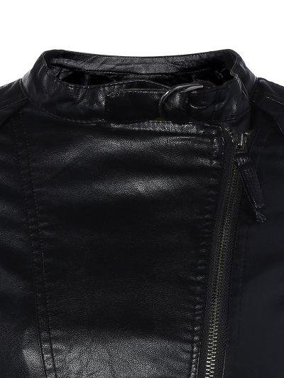 Inclined Zippered PU Leather Biker Jacket - BLACK M Mobile