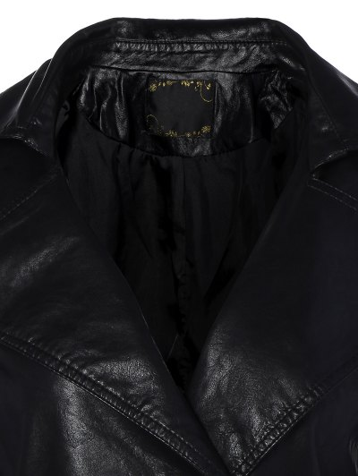 Lapel Collar Double Breasted PU Leather Coat - BLACK XL Mobile