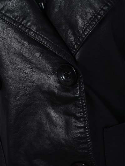 Lapel Collar Double Breasted PU Leather Coat - BLACK L Mobile