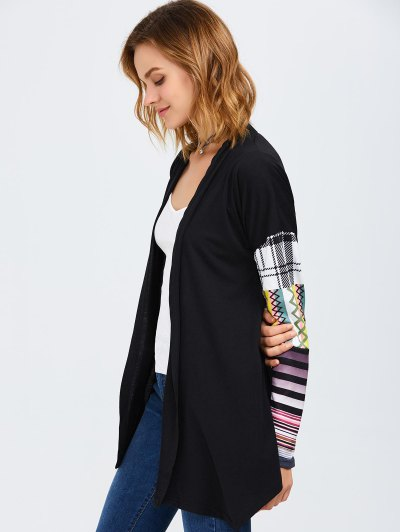 Collarless Tribal Print Duster Coat - BLACK XL Mobile