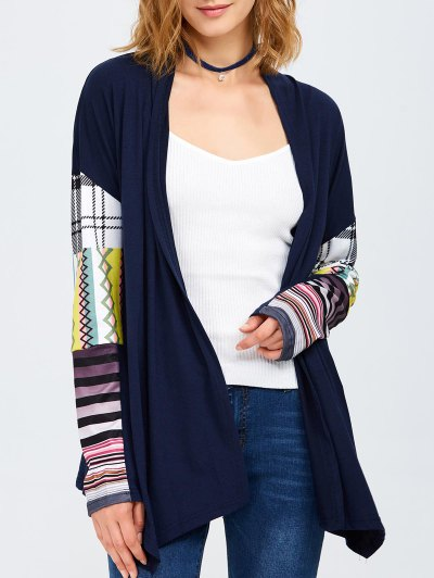 Collarless Tribal Print Duster Coat - PURPLISH BLUE XL Mobile