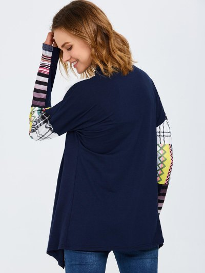 Collarless Tribal Print Duster Coat - PURPLISH BLUE M Mobile
