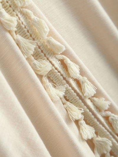 Tassel V Neck Crochet Panel T-Shirt - OFF-WHITE 2XL Mobile