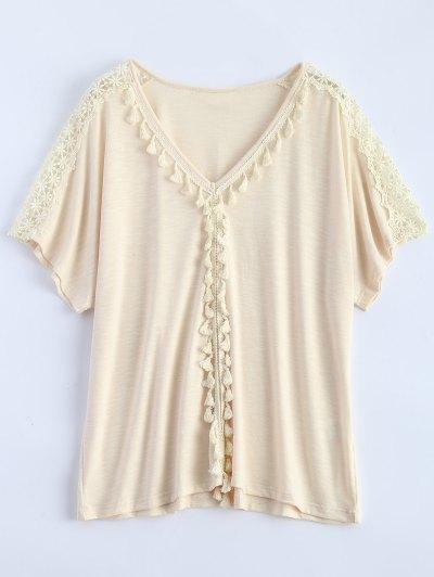 Tassel V Neck Crochet Panel T-Shirt - OFF-WHITE XL Mobile