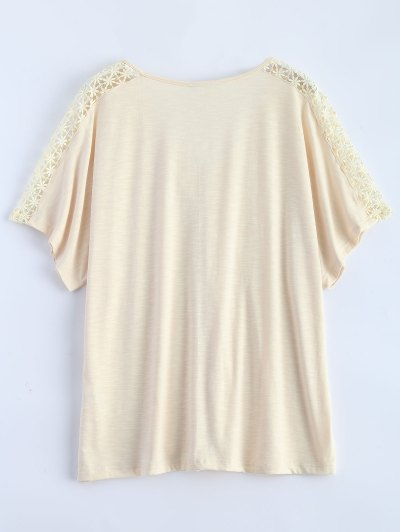 Tassel V Neck Crochet Panel T-Shirt - OFF-WHITE S Mobile