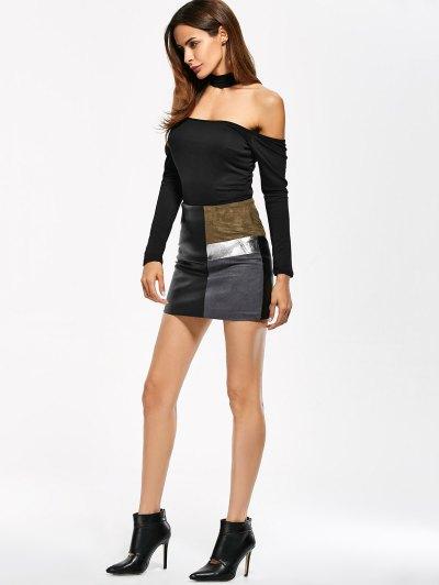 Long Sleeve Fitted Choker Bodysuit - BLACK S Mobile