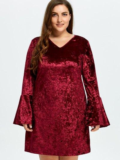 Belled Sleeve Plus Size Velvet Dress - BURGUNDY 3XL Mobile