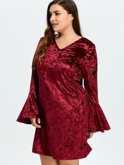 Belled Sleeve Plus Size Velvet Dress - BURGUNDY 2XL Mobile