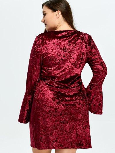 Belled Sleeve Plus Size Velvet Dress - BURGUNDY XL Mobile