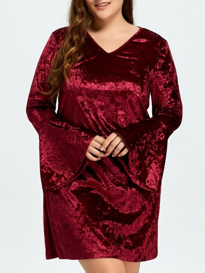 Belled Sleeve Plus Size Velvet Dress - BURGUNDY L Mobile