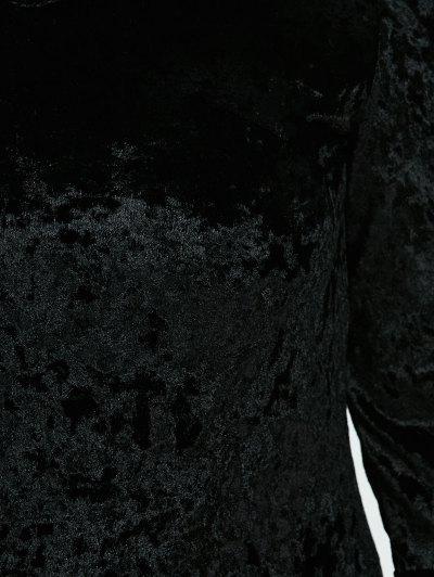 Belled Sleeve Plus Size Velvet Dress - BLACK 3XL Mobile