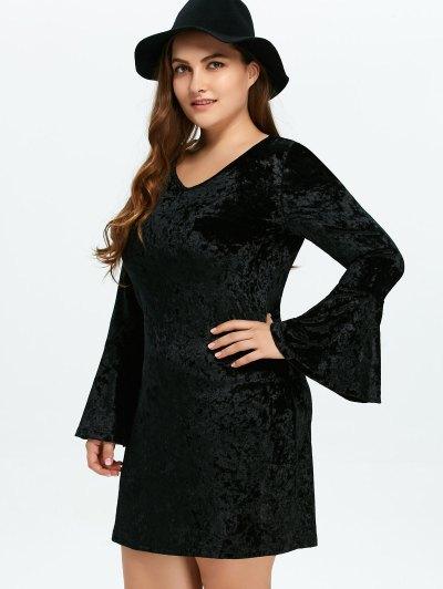 Belled Sleeve Plus Size Velvet Dress - BLACK 2XL Mobile