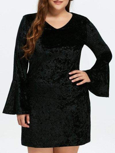 Belled Sleeve Plus Size Velvet Dress - BLACK XL Mobile
