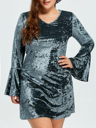 Belled Sleeve Plus Size Velvet Dress - GREEN 2XL Mobile