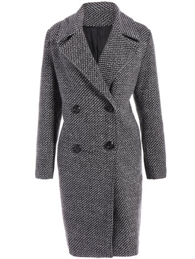 Fitting Checked Wool Coat - BLACK XL Mobile