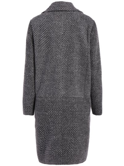 Fitting Checked Wool Coat - BLACK L Mobile
