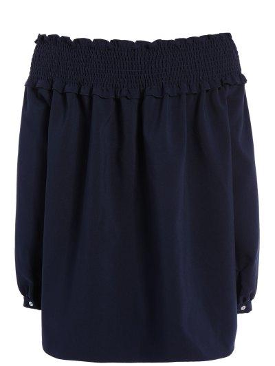 Long Sleeve Off Shoulder Blouse - PURPLISH BLUE S Mobile