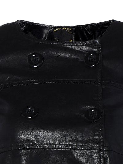Flare Sleeve Double Breasted PU Leather Dress - BLACK XL Mobile