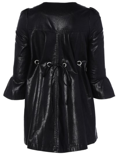 Flare Sleeve Double Breasted PU Leather Dress - BLACK M Mobile