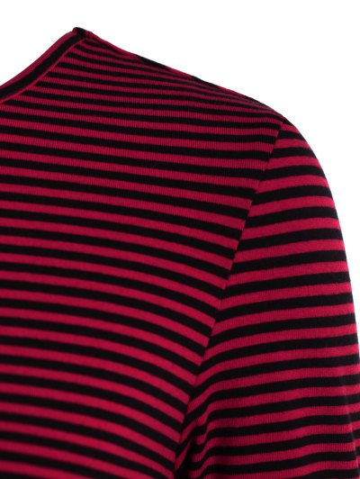 Striped Long Sleeve Smock T-Shirt - RED 2XL Mobile