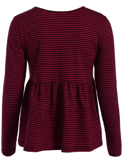 Striped Long Sleeve Smock T-Shirt - RED L Mobile