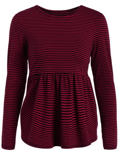 Striped Long Sleeve Smock T-Shirt - RED M Mobile