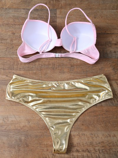 Underwire Bikini Top and Metallic Bottoms - GOLD AND PINK M Mobile
