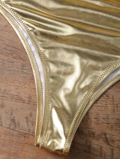 Underwire Bikini Top and Metallic Bottoms - GOLD AND PINK XS Mobile