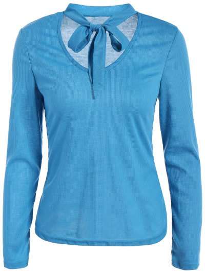 Long Sleeve Tie Neck Tee - BLUE 2XL Mobile