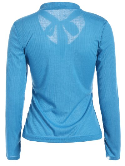 Long Sleeve Tie Neck Tee - BLUE L Mobile