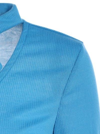 Long Sleeve Tie Neck Tee - BLUE S Mobile