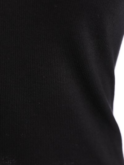 Ribbed Long Sleeve Choker Tee - BLACK 2XL Mobile