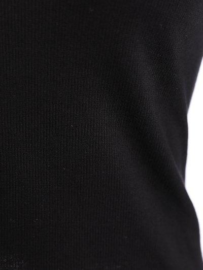 Ribbed Long Sleeve Choker Tee - BLACK M Mobile