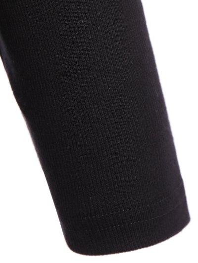 Ribbed Long Sleeve Choker Tee - BLACK S Mobile