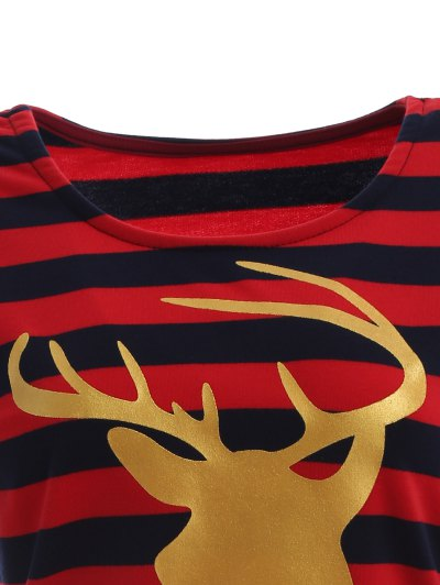 Christmas Reindeer Striped Tee - BLUE AND RED XL Mobile