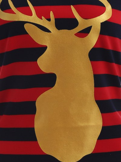 Christmas Reindeer Striped Tee - BLUE AND RED L Mobile