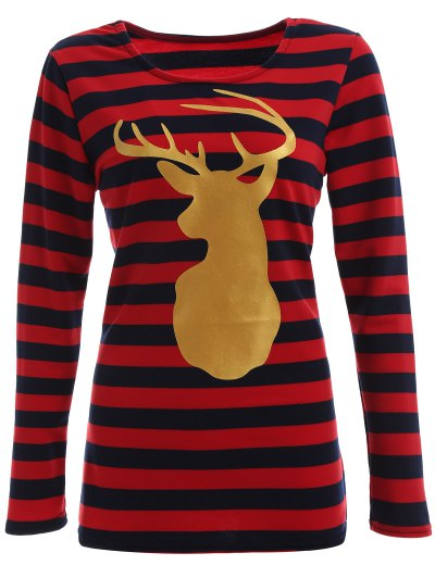 Christmas Reindeer Striped Tee - BLUE AND RED M Mobile