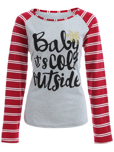 Striped Raglan Sleeve Christmas Tee - GRAY AND RED L Mobile