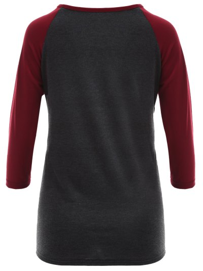 Raglan Sleeve Graphic Christmas Tee - GRAY AND RED XL Mobile